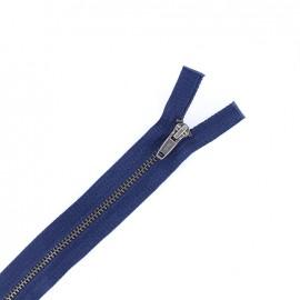 Brass metal open end  zipper - navy blue