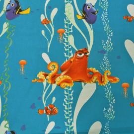 Tissu coton Disney Nemo - bleu pétrole x 62cm