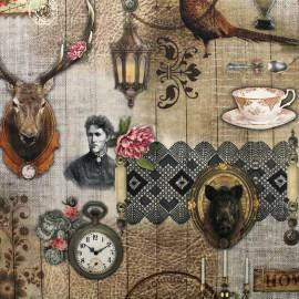 ♥ Coupon 300 cm X 160 cm ♥  Digital printing velvet fabric - Retro home