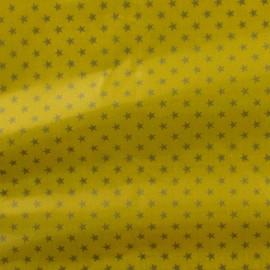 Tissu enduit coton Batiste banane étoiles argent x 10cm