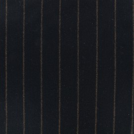 Wool fabric Tailleur stripes - black x 10cm