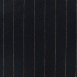 Wool fabric Tailleur stripes - black x 10cm