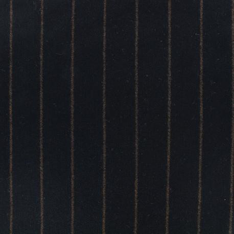 Wool fabric Tailleur stripes - black