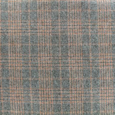 Wool fabric Tailleur carreaux - orange x 10cm
