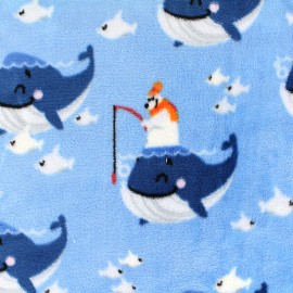 Minkee velvet fabric Happy fish - blue x 22cm