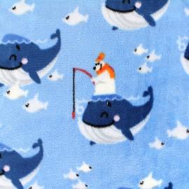 Tissu Velours minkee réversible Happy fish - bleu x 22cm