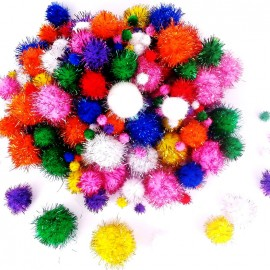 Pack of 200 metallic pompoms