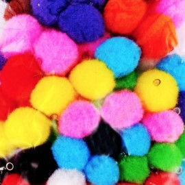 Pack of 100 pompoms with hole - multi
