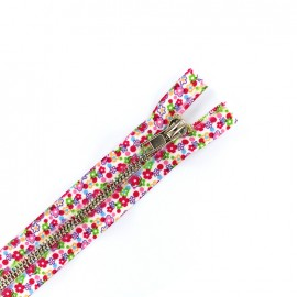 Metal closed bottom zipper - flowers