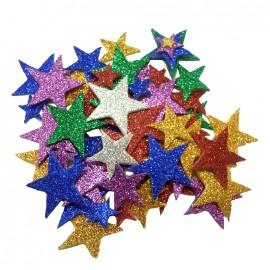 Sachet de 200 motifs étoiles en mousse pailletée adhésive - multi