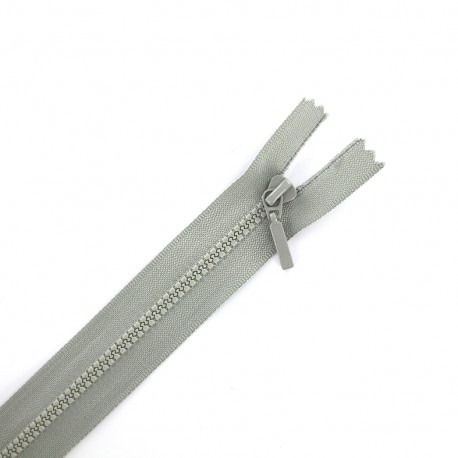 Thin moulded plastic open end zip eclair® - light grey