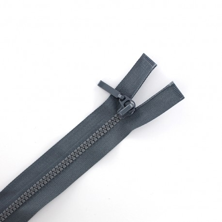 Thin moulded plastic open end zip eclair® - dark grey