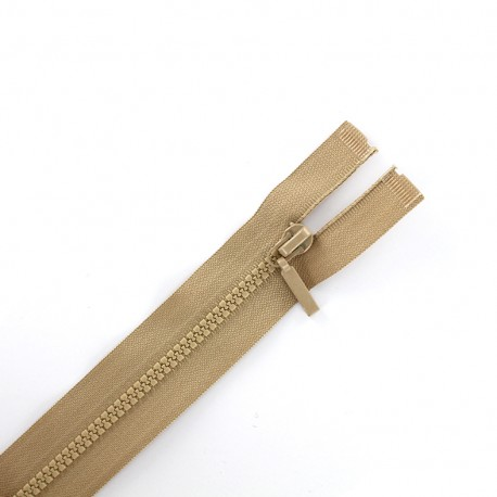 Thin moulded plastic closed bottom zip eclair® - antelope beige