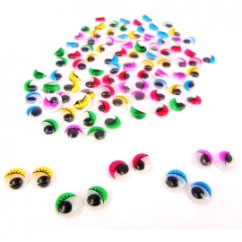 Pack of 100 adhesive round mobil eyes with eyelashes - multi