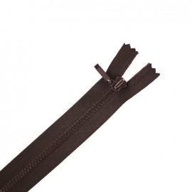 Fermeture Eclair® non séparable fine synthétique - chocolat