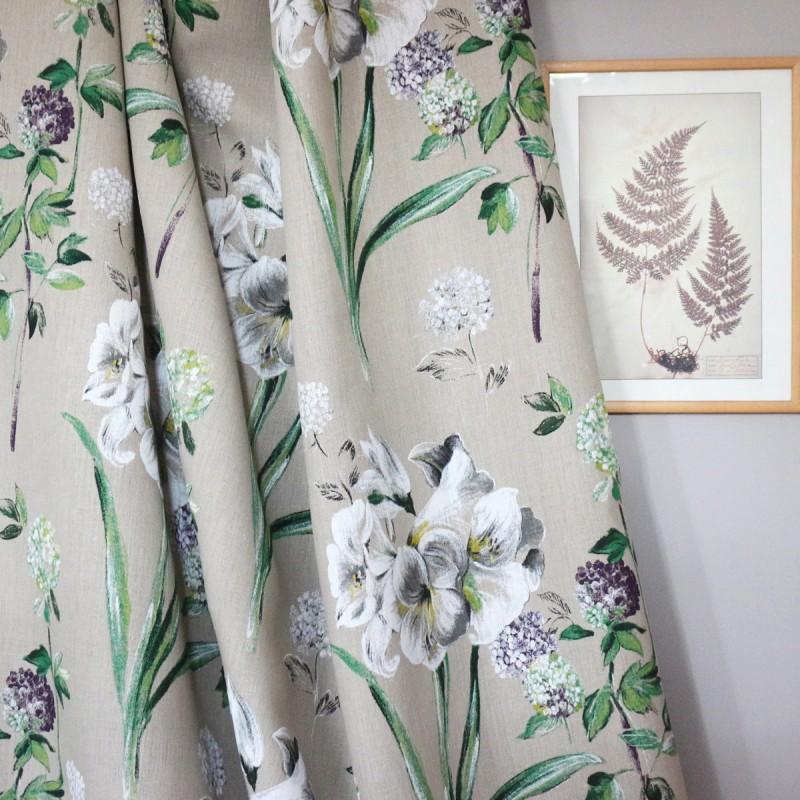 tissus pas cher tissu lin grande lys fond anthracite x 64 cm. Black Bedroom Furniture Sets. Home Design Ideas