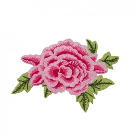 Thermocollant grande fleur brodée - rose