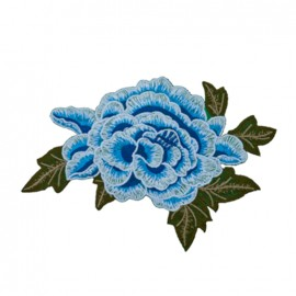 Embroidered big flower iron on patch - blue
