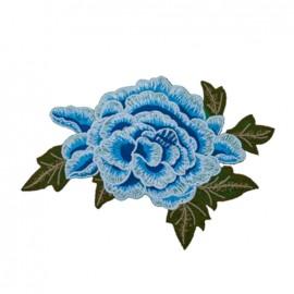 Thermocollant grande fleur brodée - bleu