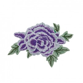 Thermocollant grande fleur brodée - violet