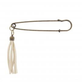 Kilt safety pin pompom - bronze