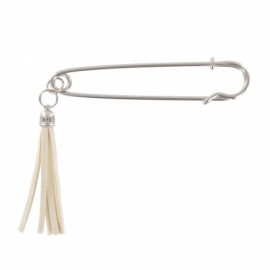 Kilt safety pin pompom - silvery