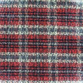 Polished wool fabric Tartan - red x 10cm