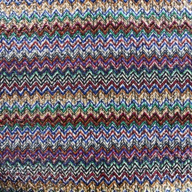 Polished wool fabric Chevron - multi x 10cm