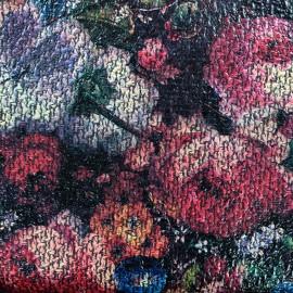 Tissu Lainage ciré Blossom - noir x 10cm