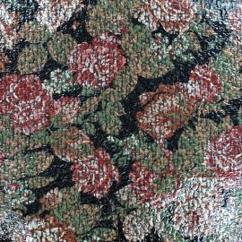 Tissu Lainage ciré Flower - noir x 10cm