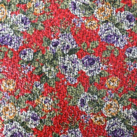 Polished wool fabric Flower - red x 10cm