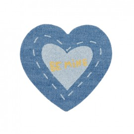 Jeans heart iron-on applique - Be mine