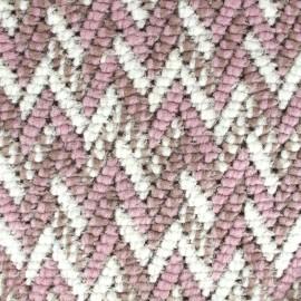 Tissu Maille tricot Chevron - rose x 10cm