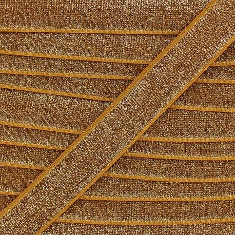 Lurex velvet elastic - gold x 1m