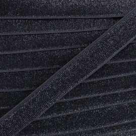 Elastique velours lurex - noir x 1m