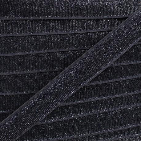 Lurex velvet elastic - black x 1m