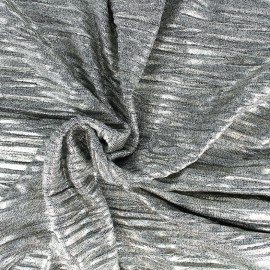 Pleated metallic stitch fabric - silver x 10cm