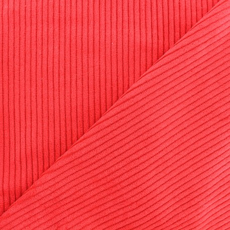 Thick ribbed velvet fabric - bright red x 10cm