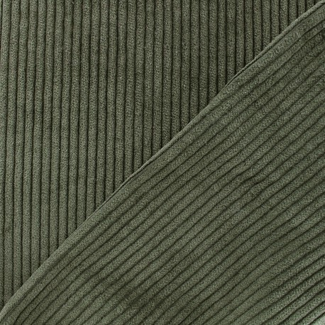 Thick ribbed velvet fabric - khaki x 10cm