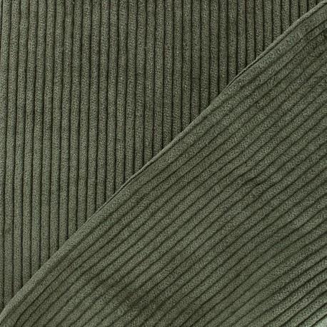 Tissu velours grosses côtes - kaki x10cm