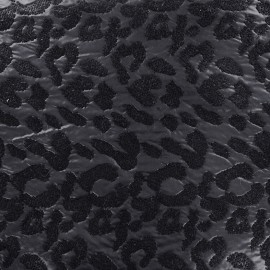Quilted aspect embroidered jacquard fabric Animal - black x 10cm