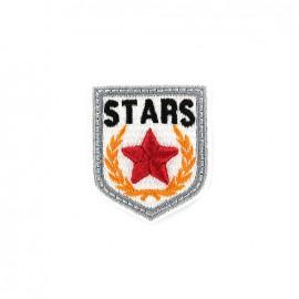 Embroidered iron on patch Blason Stars - white