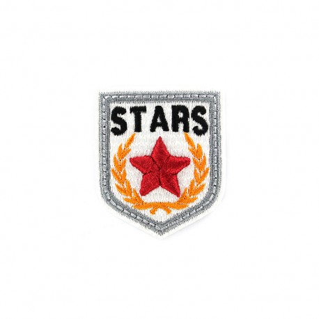 Embroidered iron on patch Blason Stars - white