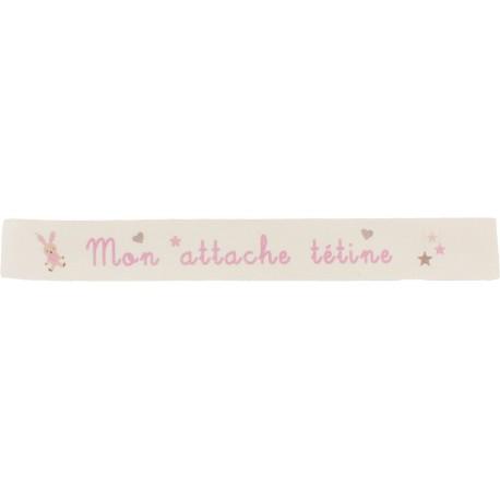 Ruban sergé Mon attache tétine - rose sur fond écru x 35cm