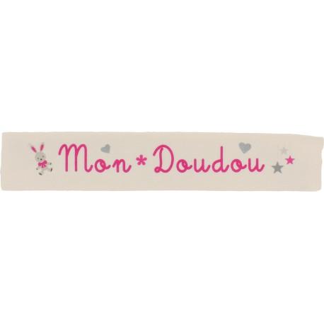 Ruban sergé Mon doudou - fuchsia sur fond écru x 25cm