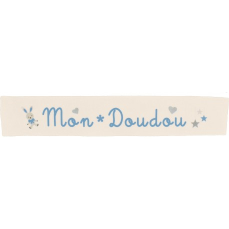 Twill ribbon Mon doudou - blue on ecru x 25cm