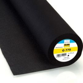 Entoilage tissé thermocollant vlieseline bi-élastique G770 - noir x 10cm
