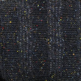 Glittery wool fabric - navy x 10cm