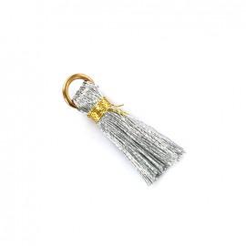 Pompon bicolore avec anneau - argent/ doré