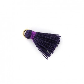 Two-colored pompom with ring - eggplant/ purple